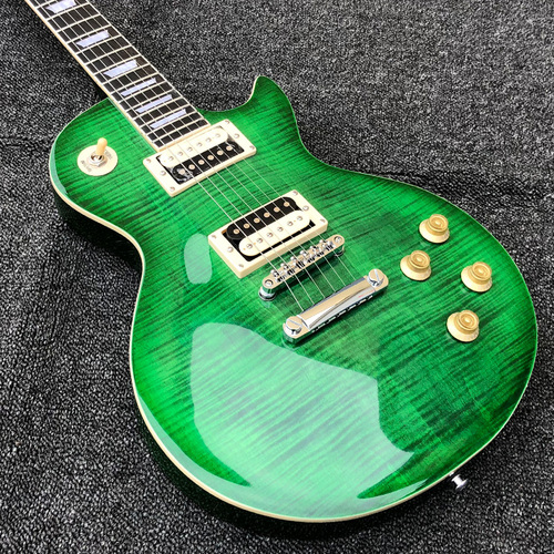 Stone Green Flame Maple Top Mahogany Arched Kedney Tuners Lespaul Standard Electric Guitar
