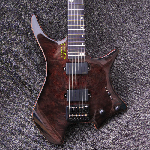 Trans Black Boden Burl Maple Top Strandberg Headless 6 StringElectric Guitar