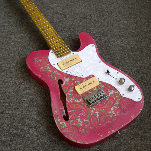 Relic Pink Paisley P90 pickups F hole Semi Hollow Body Telecaster Electric Guitar