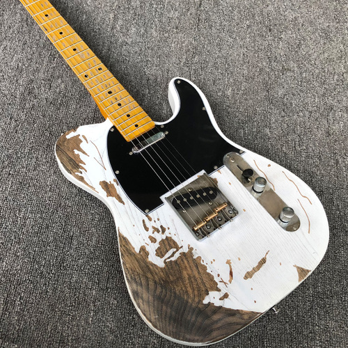 Classic White Relic Jeff Beck Esquire Custom Shop Alder Body Telecaster Electric Guitar