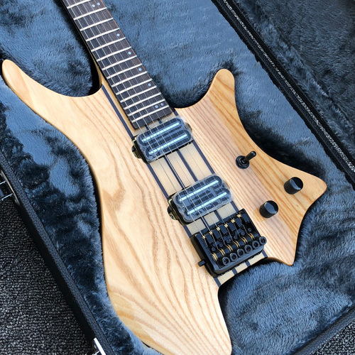 Original Natural Neck Through Swamp Ash Body Top Strandberg Headless 6 StringElectric Guitar